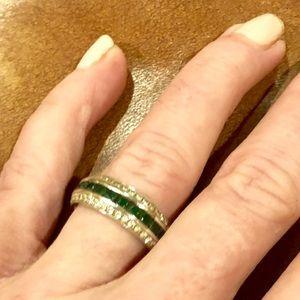 Jewelry - Stunner! Diamond & emerald eternity band!